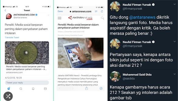 Pakai Foto 212 untuk Berita Intoleransi, Antara News Banjir Kecaman Warganet