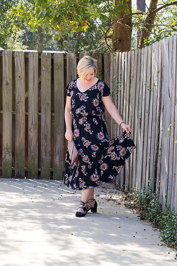 fall dress, fall florals, womens fall fashion