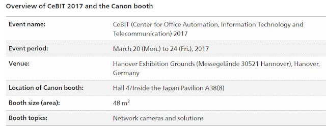 Canon to participate in international information and communications technology trade show CeBIT 2017