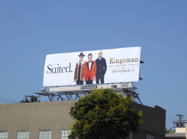 Kingsman Golden Circle suited billboard