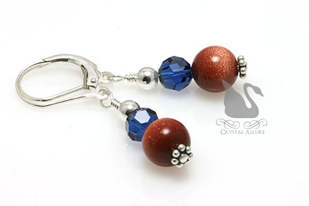 Goldstone Sapphire Crystal Beaded Earrings (E150)