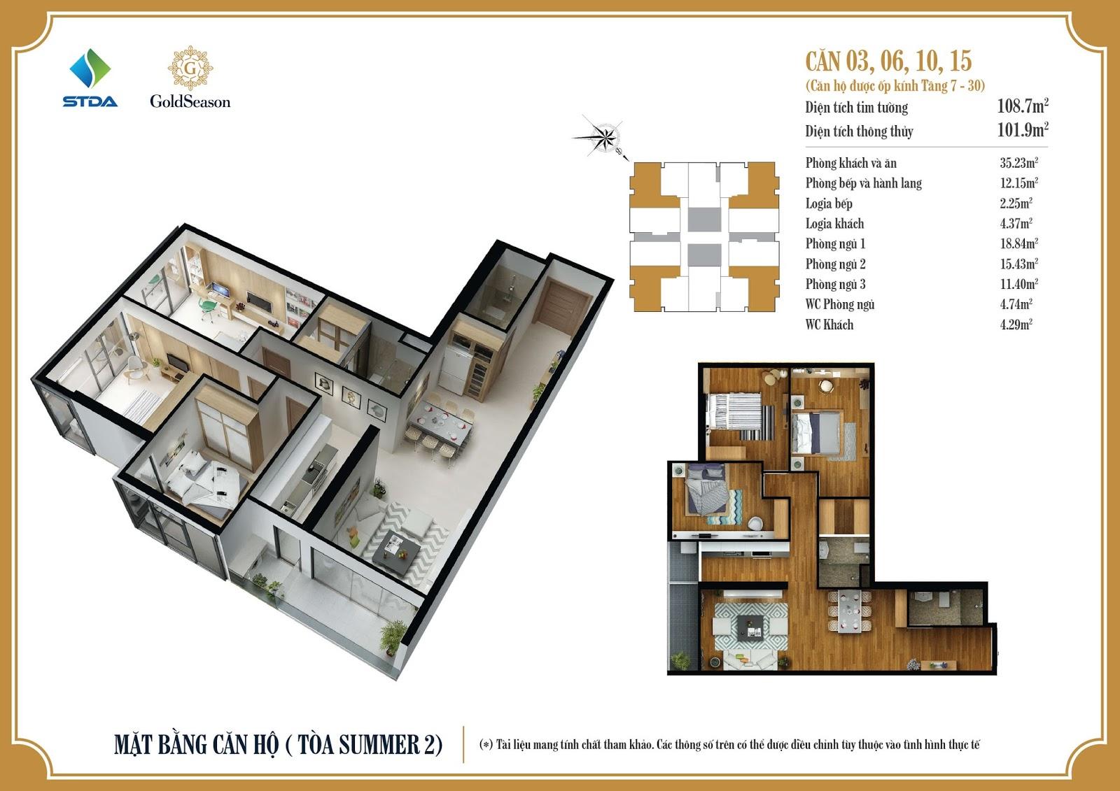Mặt bằng căn hộ ỐP KÍNH số 03, 06, 10 và 15 diện tích 108,7m2 tầng 7 đến 30 - GoldSeason