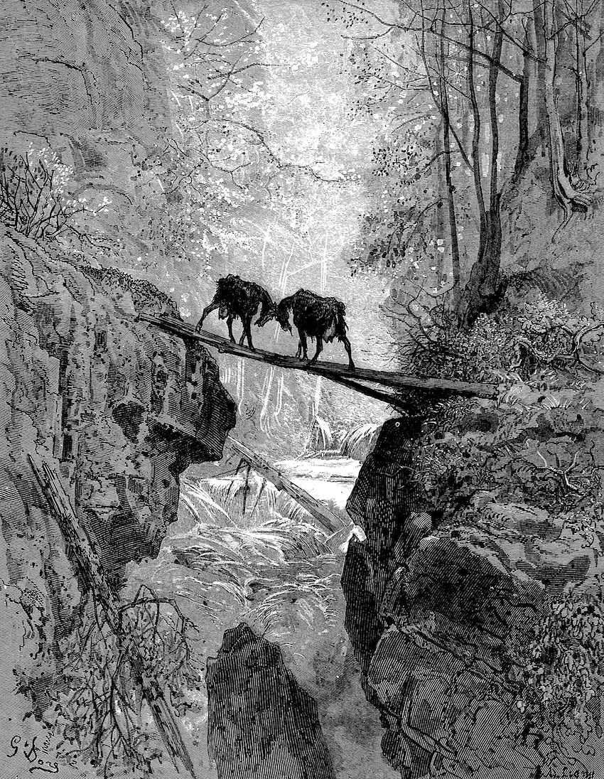 Gustave Dore, stubborn goats