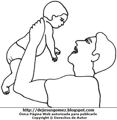 Otro dibujo de papá cargando a su hijo para colorear, pintar o imprimir  (Papá cargando a su hijo bebé con las manos). Dibujo de un papá con su bebé hecho por Jesus Gómez