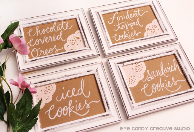 framed cookie signs, hand lettered cookie frames, cookie bar, quince party