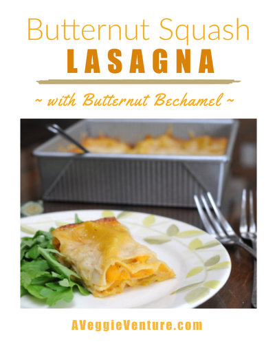 Butternut Squash Lasagna with Butternut Bechamel & Roasted Butternut Squash ♥ AVeggieVenture.com, three vegetarian layers plus a gorgeous 'Butternut Bechamel' studded with roasted squash.