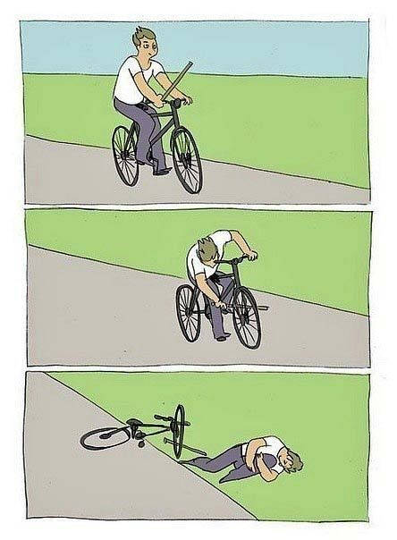 Mann  auf Fahrrad sinnlose Aktion - Spass Comic lustig