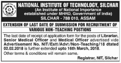 Last date of application for Recruitment of Librarian in National Institute of Technology Silchar has been extended up to 16 March, 2018