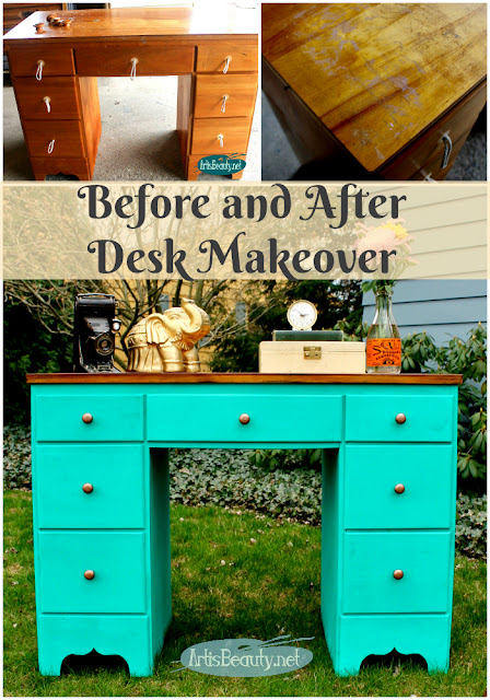 before and after painted bohemian boho style desk makeover diy deco art americana treasure paint