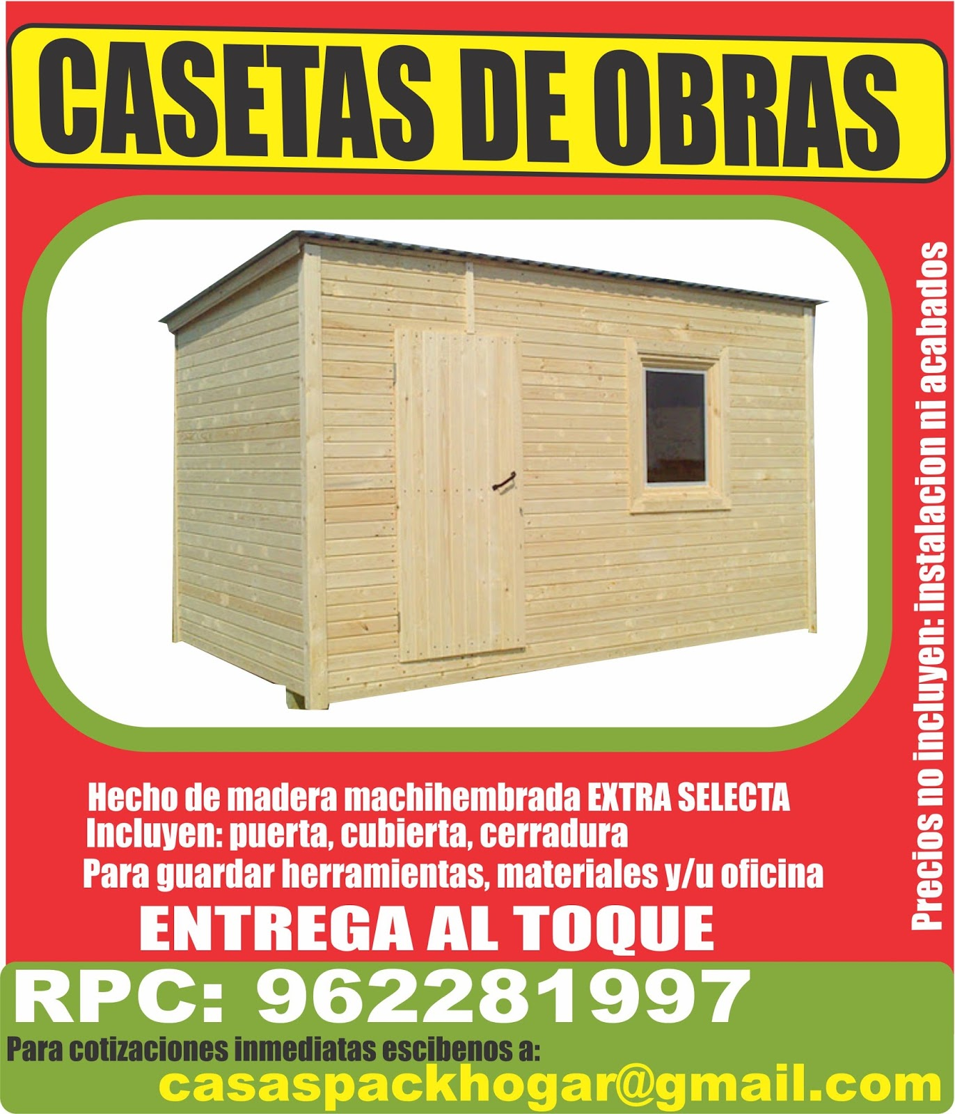 Casetas prefabricadas para obras packhogar for Casetas para almacenaje