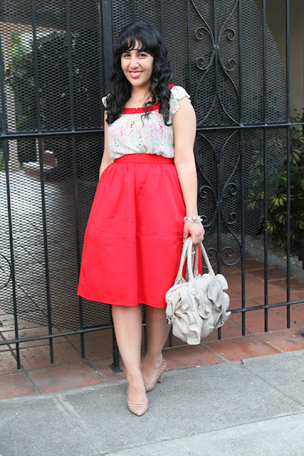 Girly Floral F21 Blouse and Red Express Midi Skirt Work Outfit