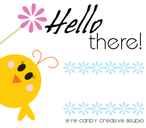 hello there graphic, little chick holding flower, think spring chick