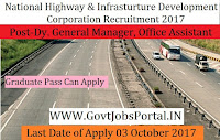 National Highways and Infrastructure Development Corporation Recruitment 2017 – 32 Dy. General Manager, Office Assistant
