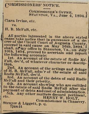 Augusta County VA Chancery Cause 1906-105 Clara D Irvine & c vs H. B. McFall & c