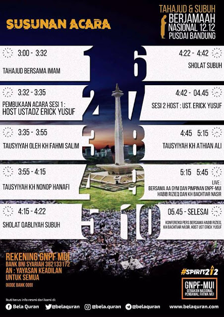 Inilah Susunan Acara Spirit Shubuh 1212. Ingat, yang paling ditakuti musuh Islam adalah saat jumlah jamaah Subuh sama dengan jamaah Shalat Jum'at. Mari Ummat Rapatkan Barisan!!!