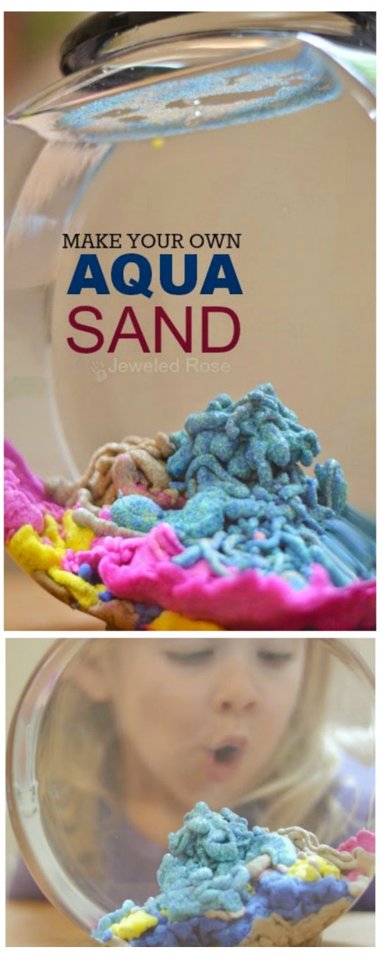 Make your own AQUA SAND: so easy & so fun!  Kids can build magical sand castles underwater & the sand stays dry!