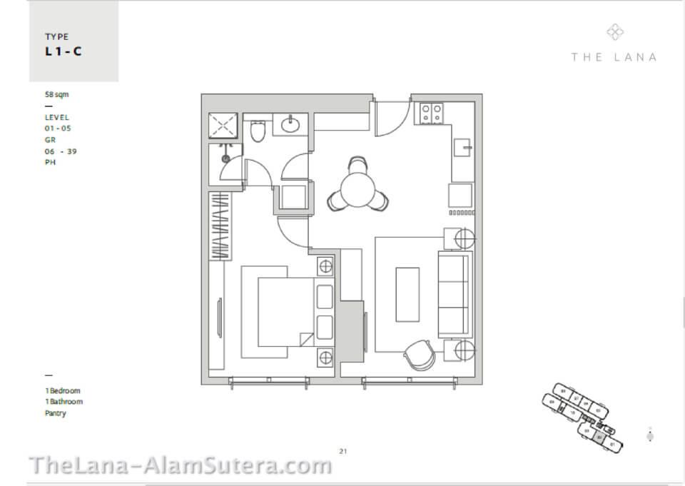 Type L1-C Apartemen The Lana Alam Sutera