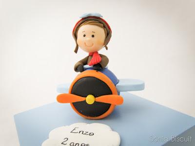 Biscuit Topo de Bolo Aviador Lembrancinha Menininho