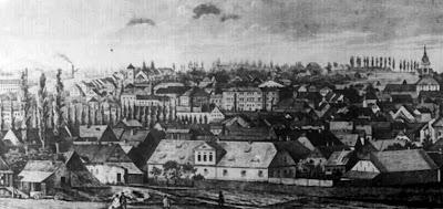 Panorama Białej i Bielska według litografii C. Bollmanna z ok. 1860 r. od strony wschodniej.