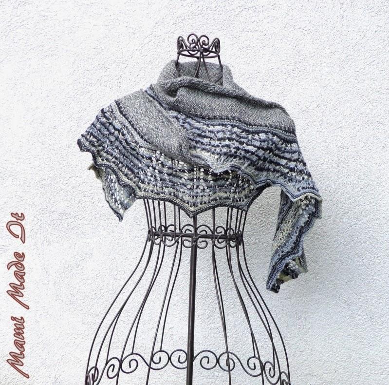 Gray-White Shawl - Grauweißes Tuch