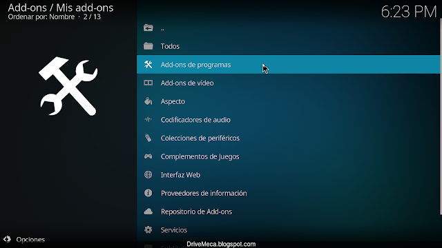 Ingresamos a Add-ons de programas