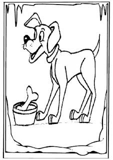 mewarnai gambar anjing