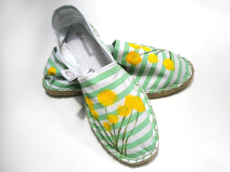 Beh1nd: Canvas shoes in white & mint stripes, with hand ...