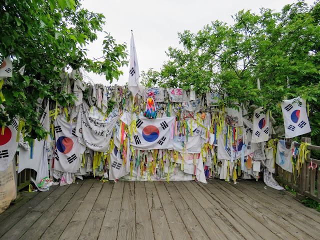 South Korean flags in the DMZ