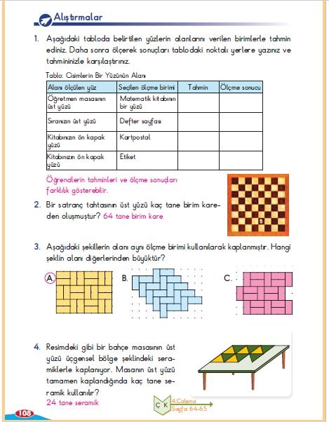3. Sınıf Berkay Yayınları Matematik Ders Kitabı 108. Sayfa Cevapları Alan