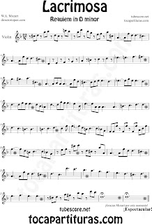 Partitura Fácil  de Lacrimosa para Violín by Sheet Music for Violin Partitura Requiem by Mozart Music Scores