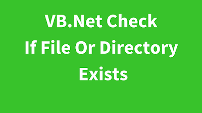 VB.Net Folder Exists