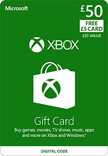 Buy Games movie TV Show music apps window, Xbox Live £50 Gift Card + £5 FREE CARD £50