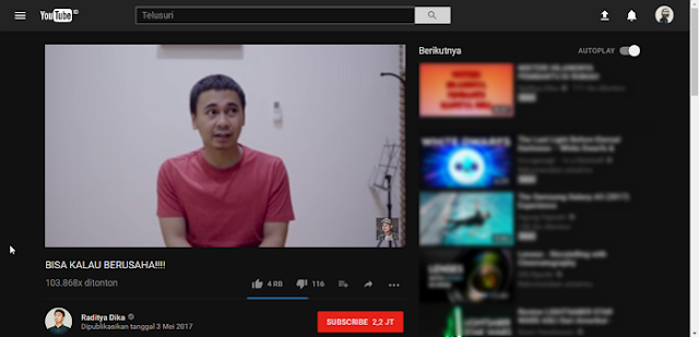 Jika sobat rajin menonton video di YouTube Cara Aktifkan Dark Mode di YouTube