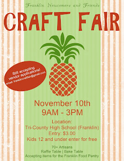 Franklin Newcomers and Friends 45th annual Craft Fair - Nov 10