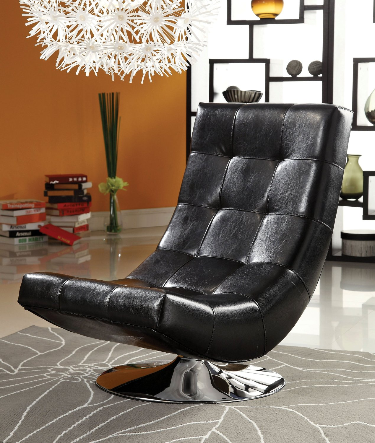 mid century modern leather accent chair folding vinyl padded black swivel chairs