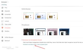 Cara Mengaktifkan Template Klasik di Blogger