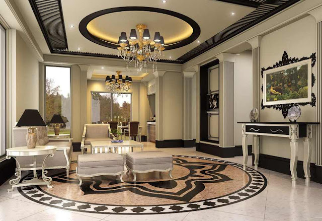 Marble Floor Designs For Luxury Living Room Interior Design
