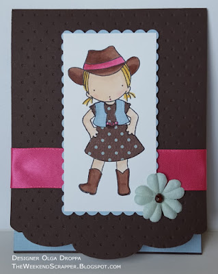 Handmade card using My Favorite Things Pure Innocence Cowgirl and PTI edge die