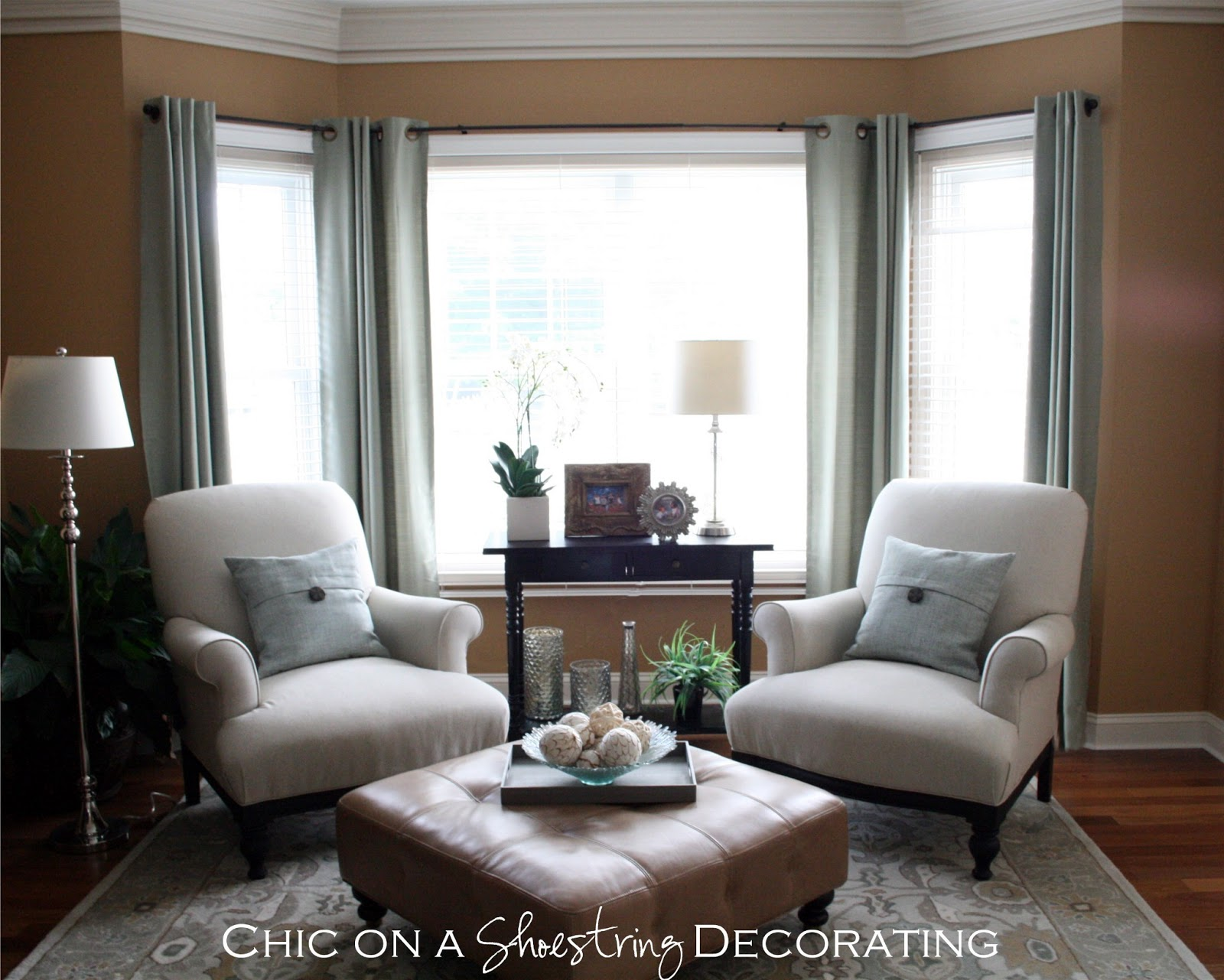 2 chairs and table set living room christmas chair covers the range chic on a shoestring decorating grand piano