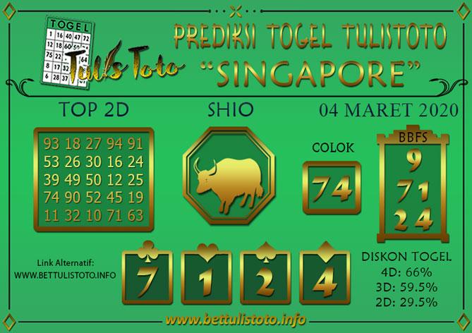 Prediksi Togel SINGAPORE TULISTOTO 04 MARET 2020