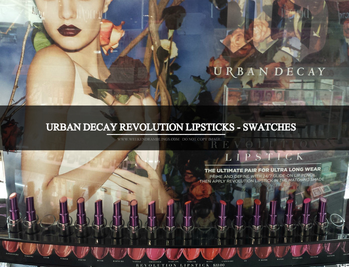 Urban Decay Revolution Lipsticks - Swatches - Photos