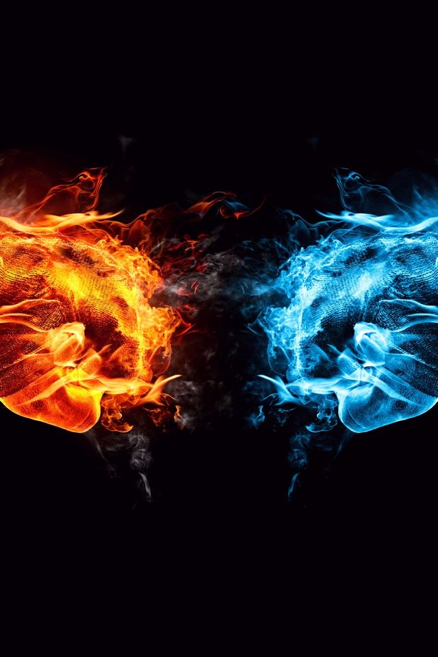 Iphone 4s 4 Wallpaper Fire Ice Conflict Hd Wallpapers