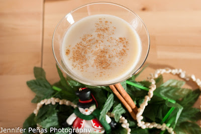 Mele Kalikimaka Martini, christmas cocktail, pineapple vodka, eggnog, cream of coconut, ground cinnamon, Hawaiian Christmas cocktail