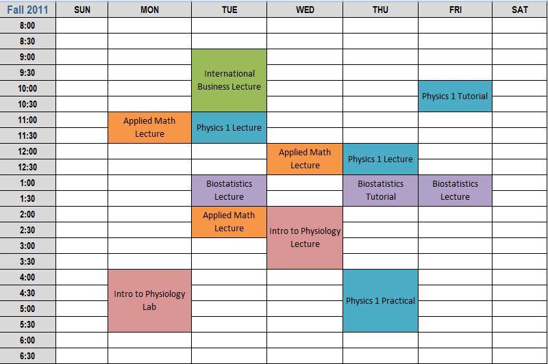 blank school schedule template free schedule template - calendar class