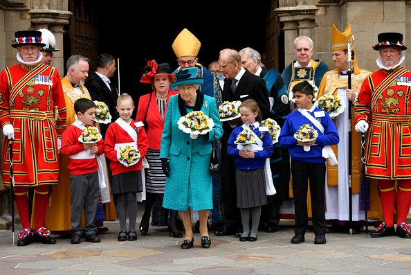 Queen Elizabeth and Duke of Edinburgh Prince Philip attended Royal Maundy service held at Leicester Cathedral in Leicester city of UK