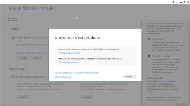 Installer de Visual Studio 2017 15.7.5 Error Microsoft.NET.4.6.FullRedist.NonThreshold