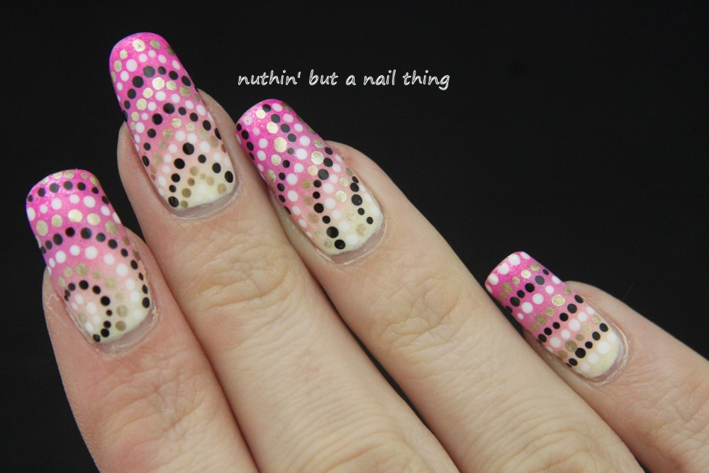 nuthin\' but a nail thing: Gradient polka dot nail art
