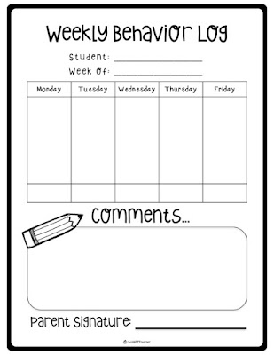 Printable behavior chart for students' take home folders
