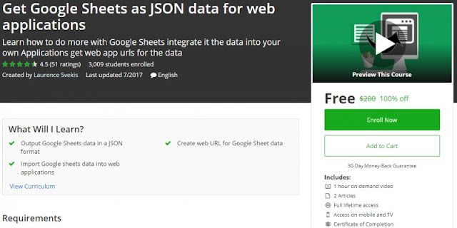 [100% Off] Get Google Sheets as JSON data for web applications| Worth 200$