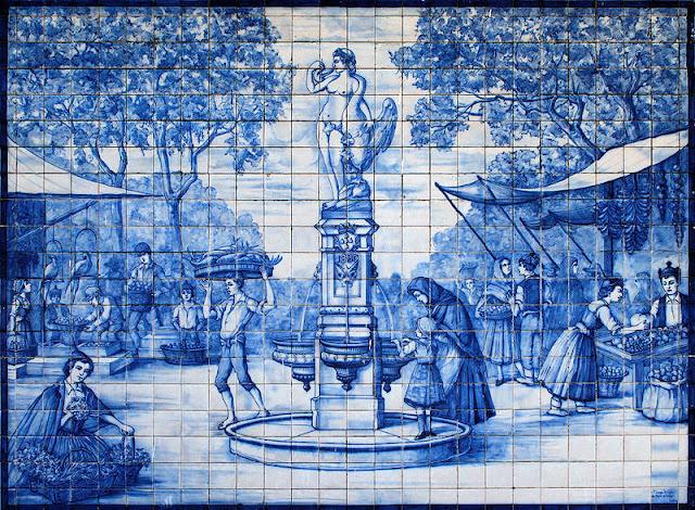 Mercado dos Lavradores, Funchal Madeira, Azulejo, Marktszene, Wikipedia, CC